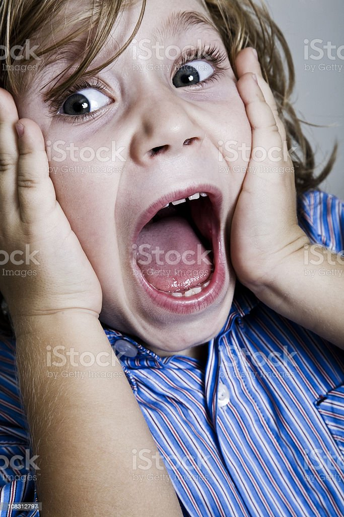 Children screaming stock photo