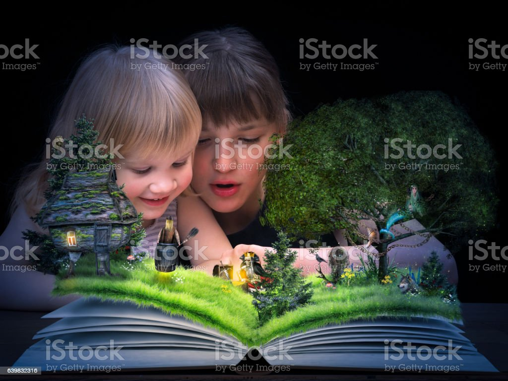 Children see animated tale stock photo