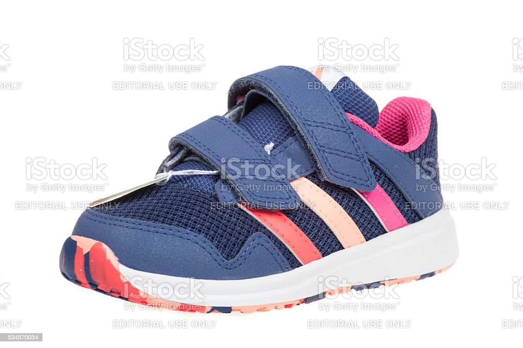ADIDAS SNICE 4 CF children shoe. Isolated on white. stock photo