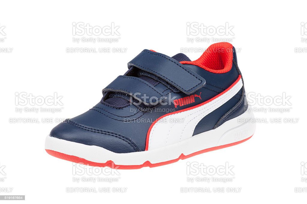 PUMA STEPFLEEX children shoe. Isolated on white. Product shots stock photo