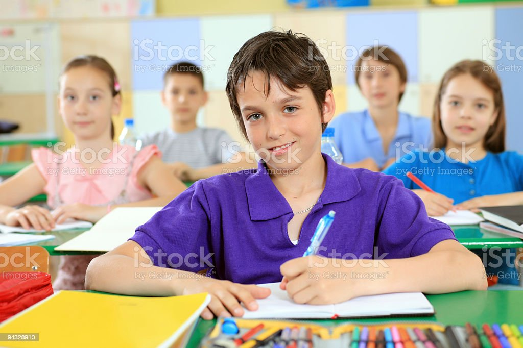 Children sitting on a lesson. royalty-free stock photo