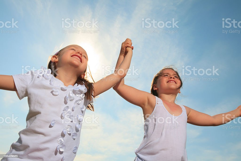 Children Sky - Running stock photo