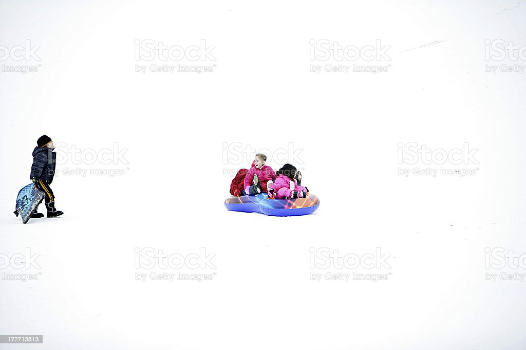 Children Sledding royalty-free stock photo