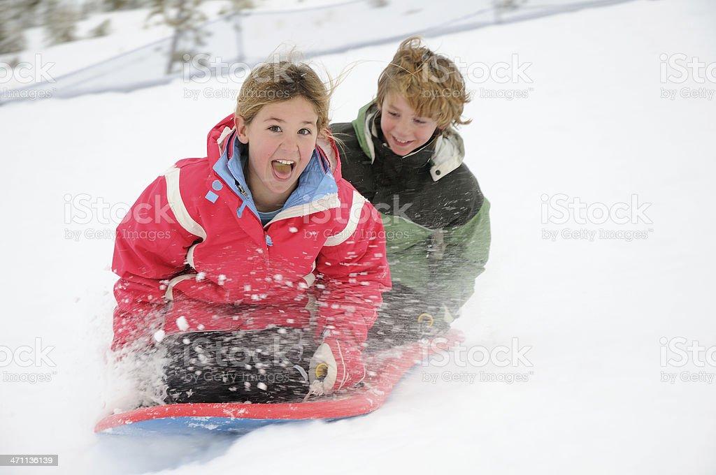 Children Sledding royalty-free stock photo