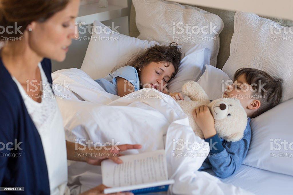Children sleeping stock photo