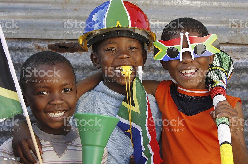 Children soccer fans South Africa stock photo