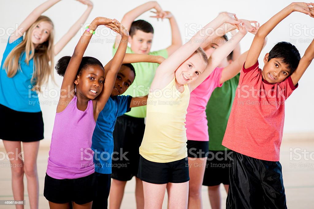 Children Stretching stock photo