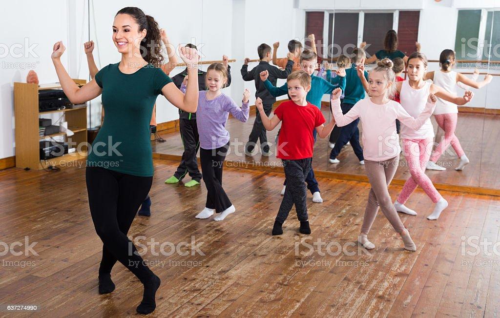 children studying contemp dance stock photo
