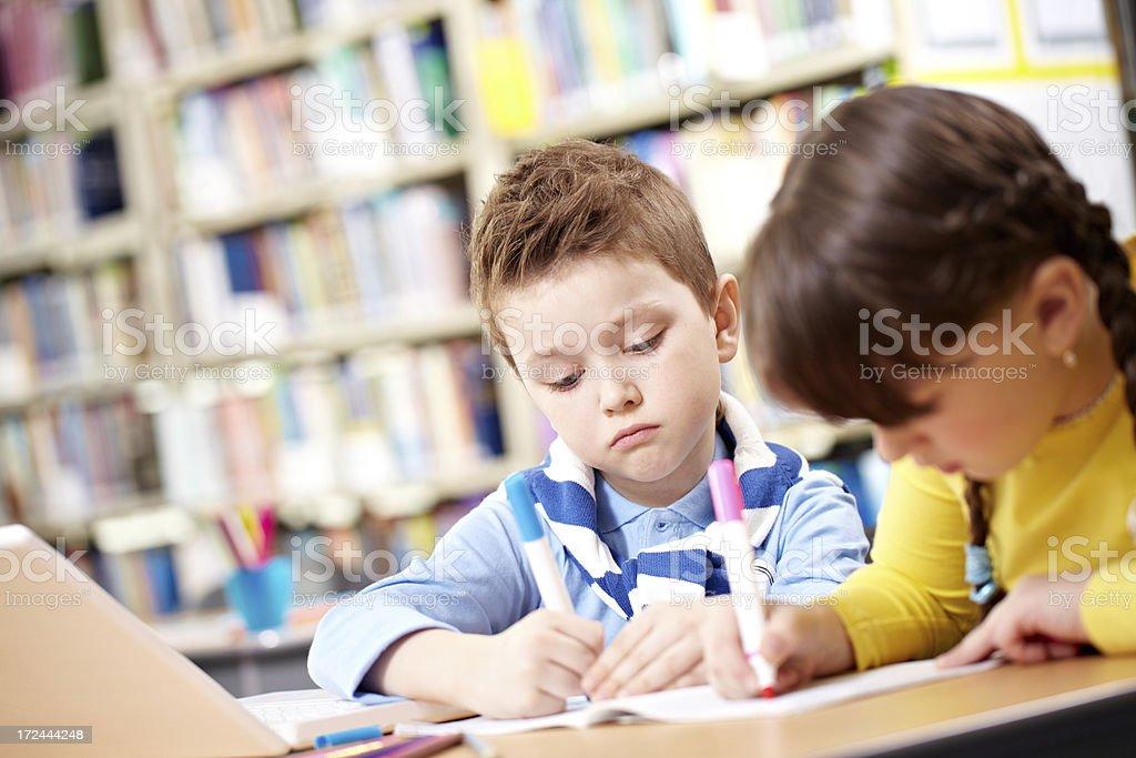 Children studying royalty-free stock photo