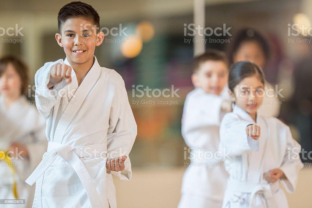 Children Taking a Jujitsu Class stock photo