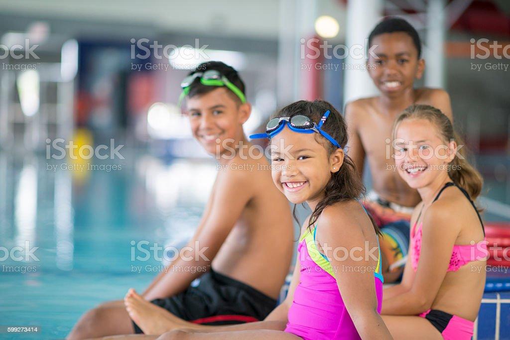 Children Taking a Swim Class stock photo