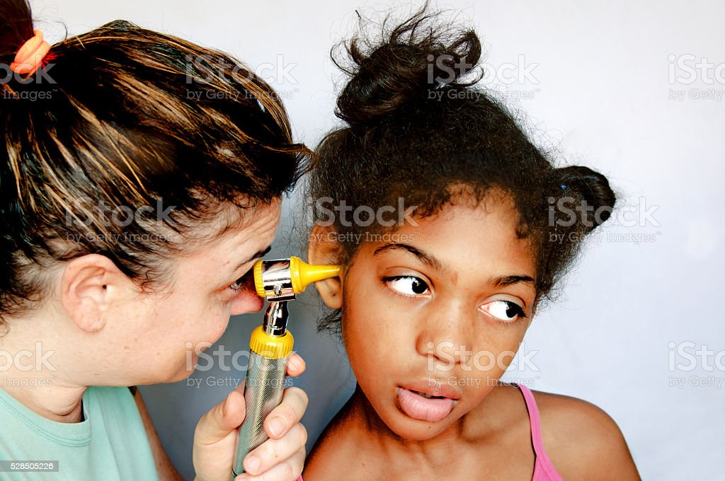 Children to the doctor stock photo