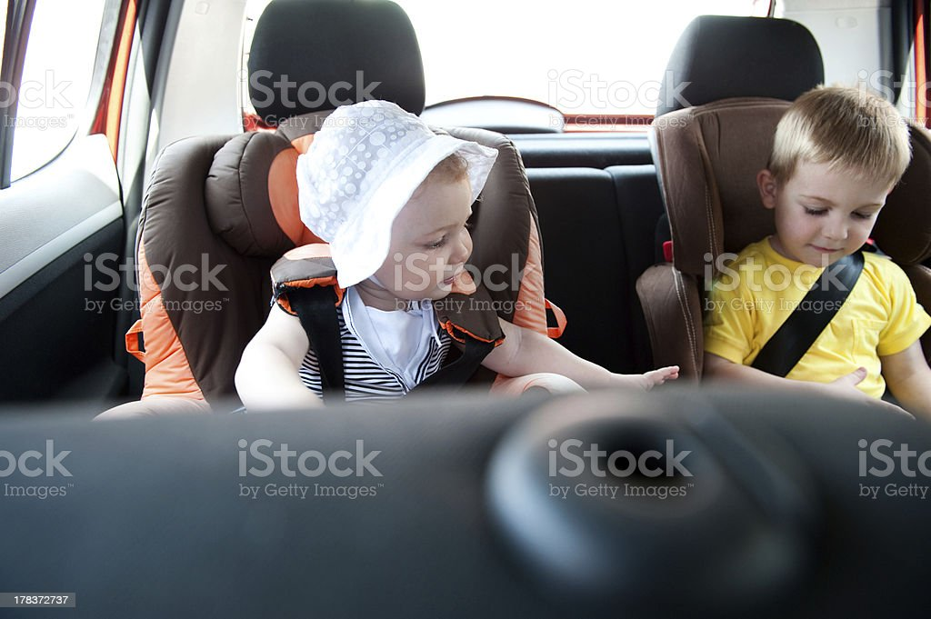 Children travelling in car stock photo