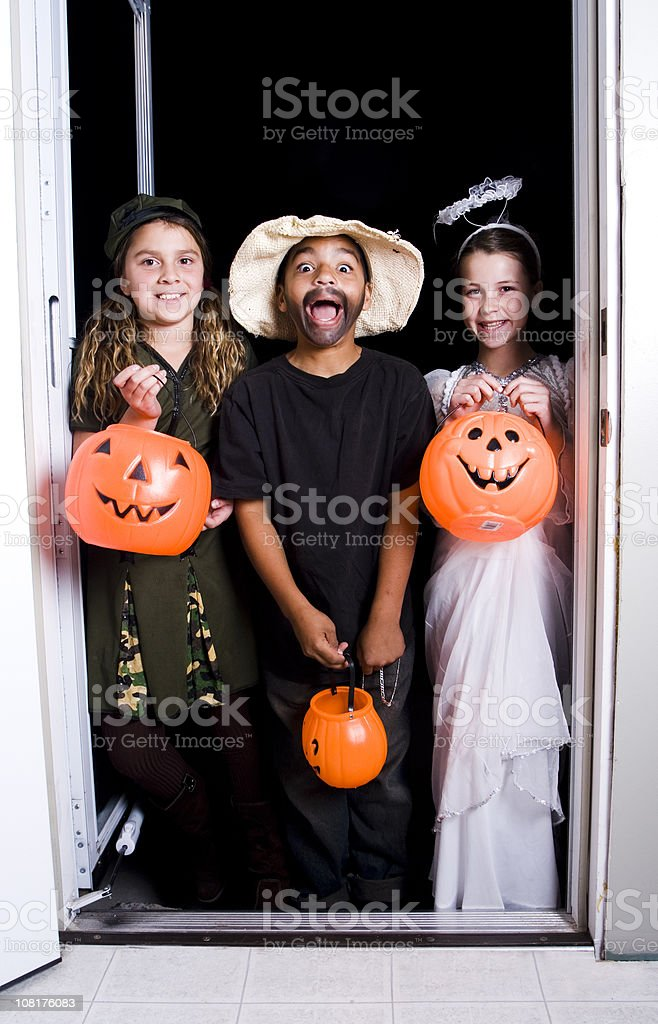 Children Trick-or-Treating royalty-free stock photo