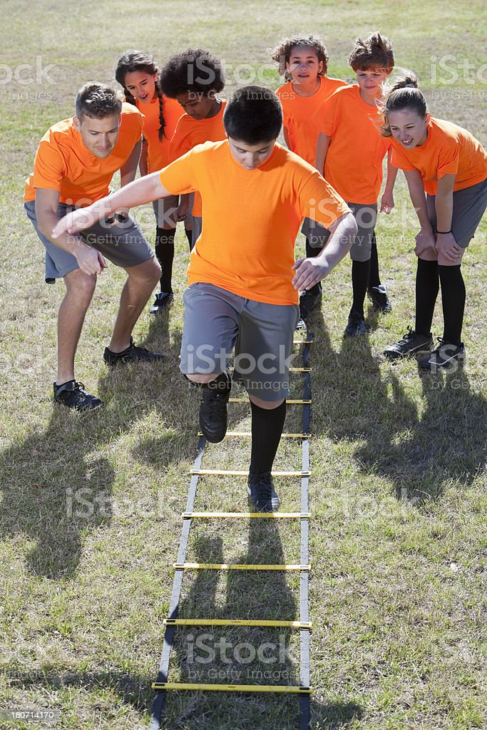Children using agility ladder royalty-free stock photo
