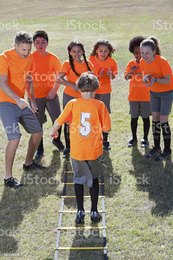 Children using agility ladder royalty-free stock photo