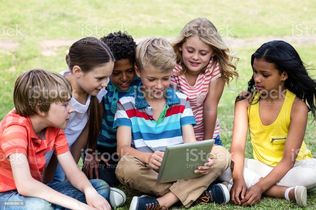 Children using digital tablet royalty-free stock photo