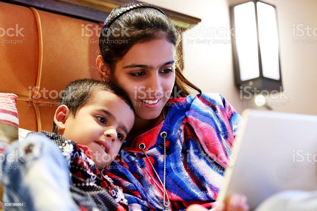 Children using ipad stock photo