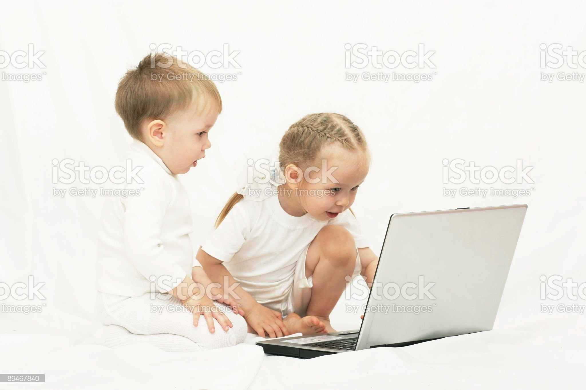 Children using notebook royalty-free stock photo