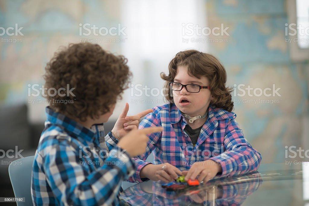 Children Using Sign Language stock photo