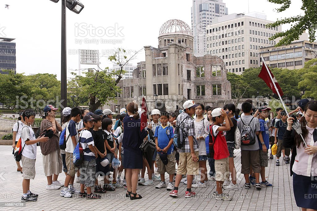 Children visiting the A-bomb site stock photo
