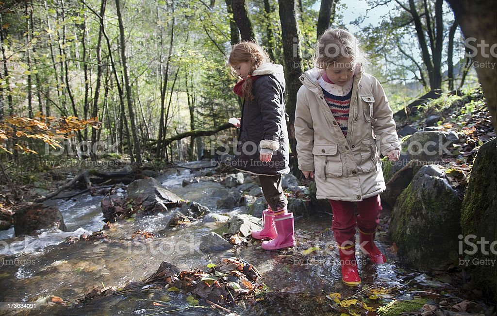 Children wading through river in the woods royalty-free stock photo