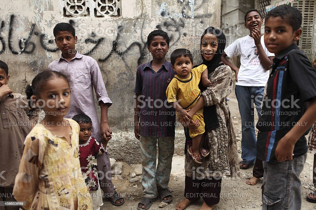 Children wait for Street School in Lyari to start stock photo