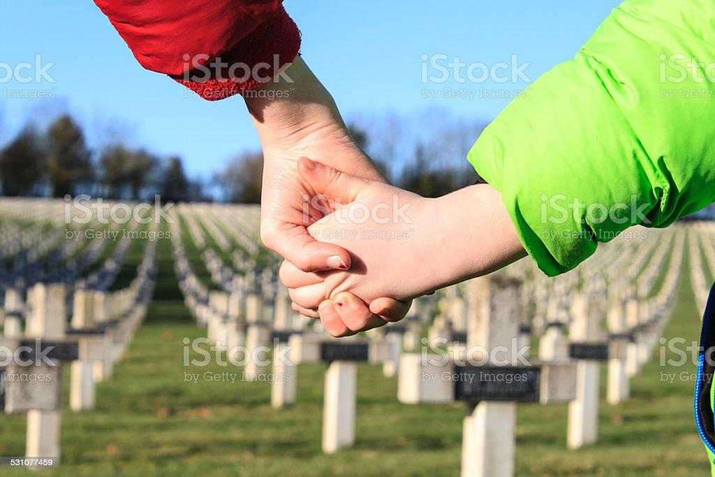children walk hand in hands for peace world war 1 stock photo