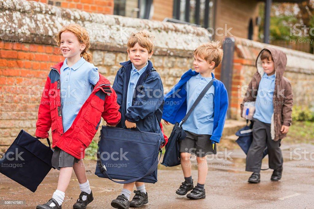 Children Walking To School stock photo