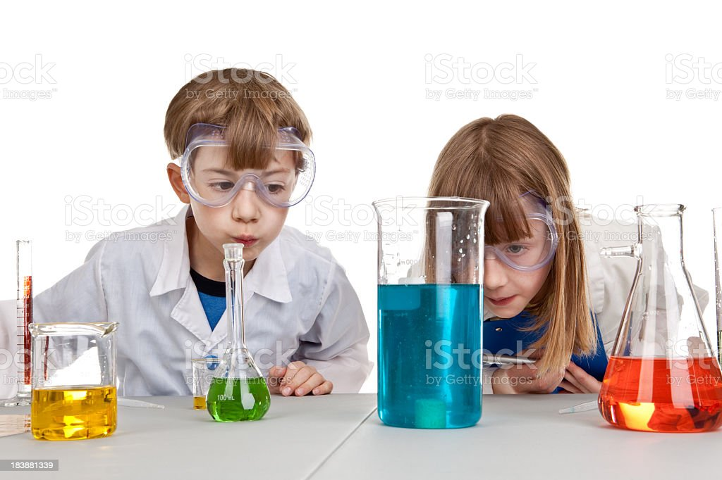 Children Watching Chemistry Experiment royalty-free stock photo