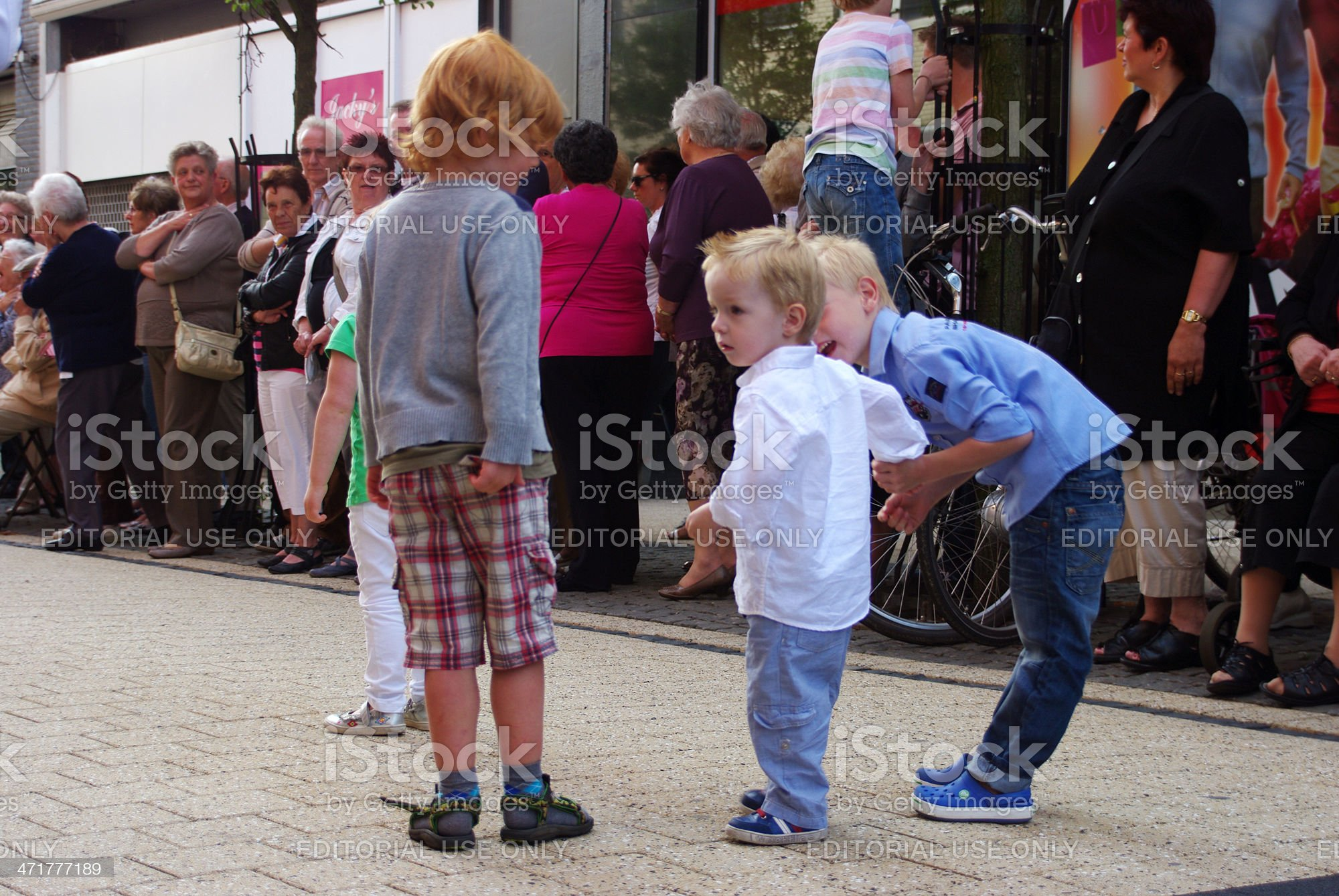 Children watching the music parade royalty-free stock photo
