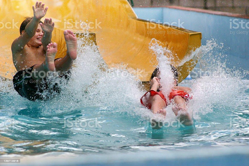 Children, water slide splash royalty-free stock photo