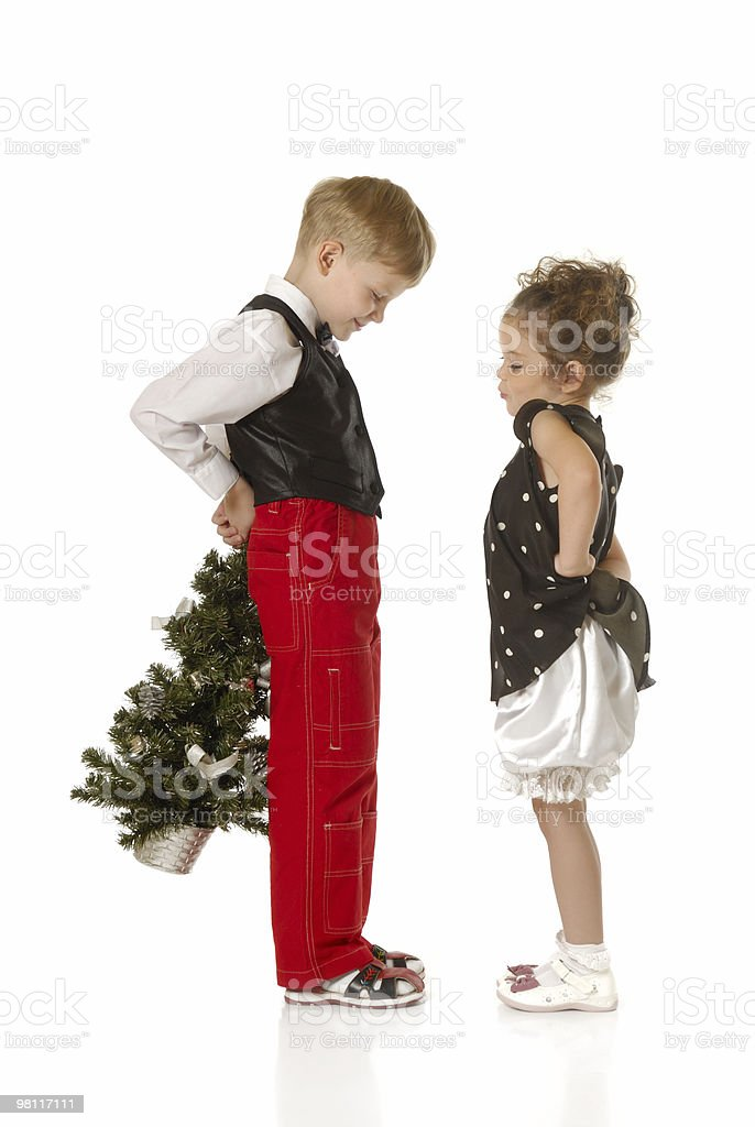 Children with a Christmas tree royalty-free stock photo