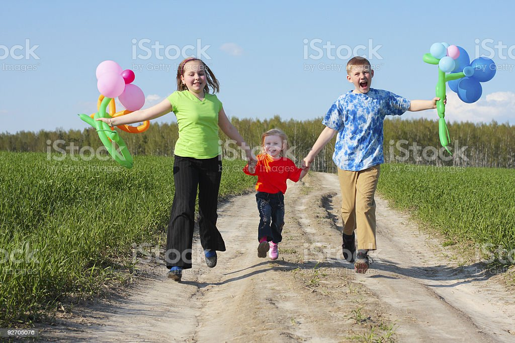 children with balloon outdoor royalty-free stock photo