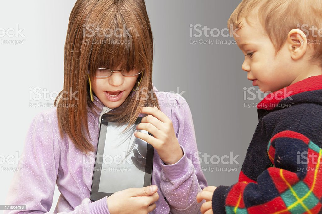 Children with digital tablet royalty-free stock photo