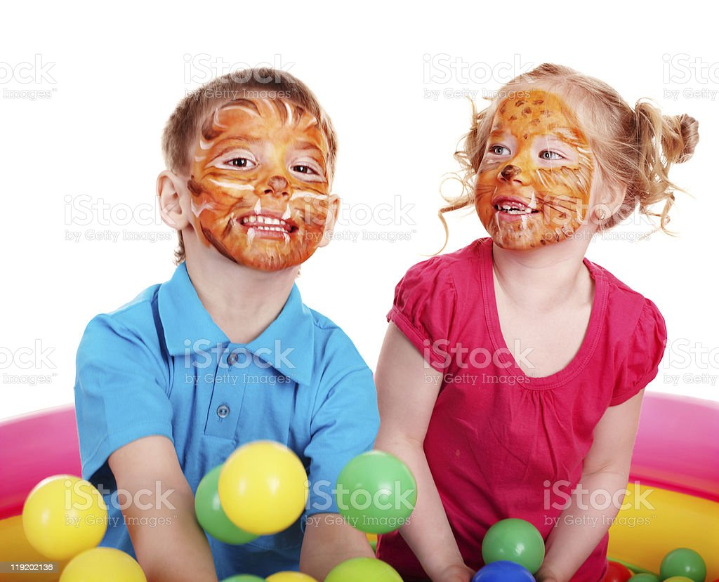 Children with face painting. royalty-free stock photo