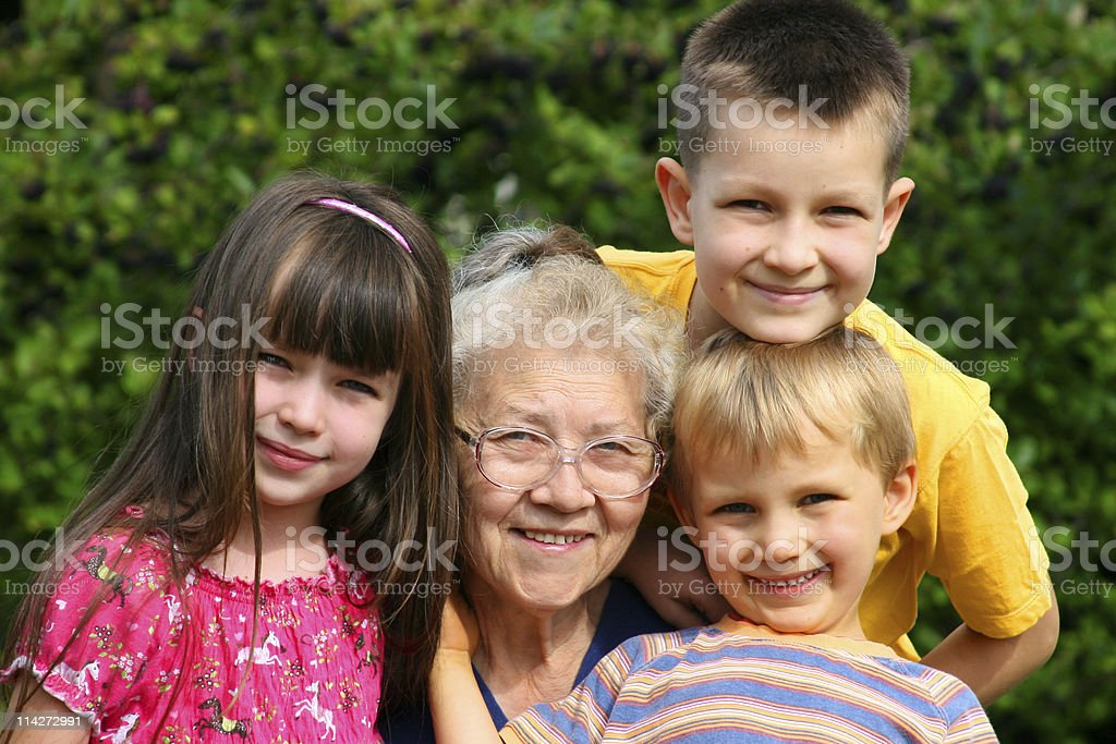 children with grandma royalty-free stock photo