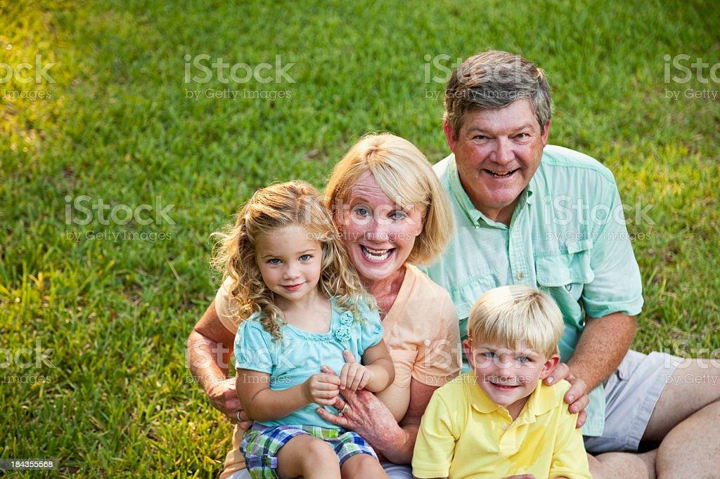 Children with grandparents stock photo