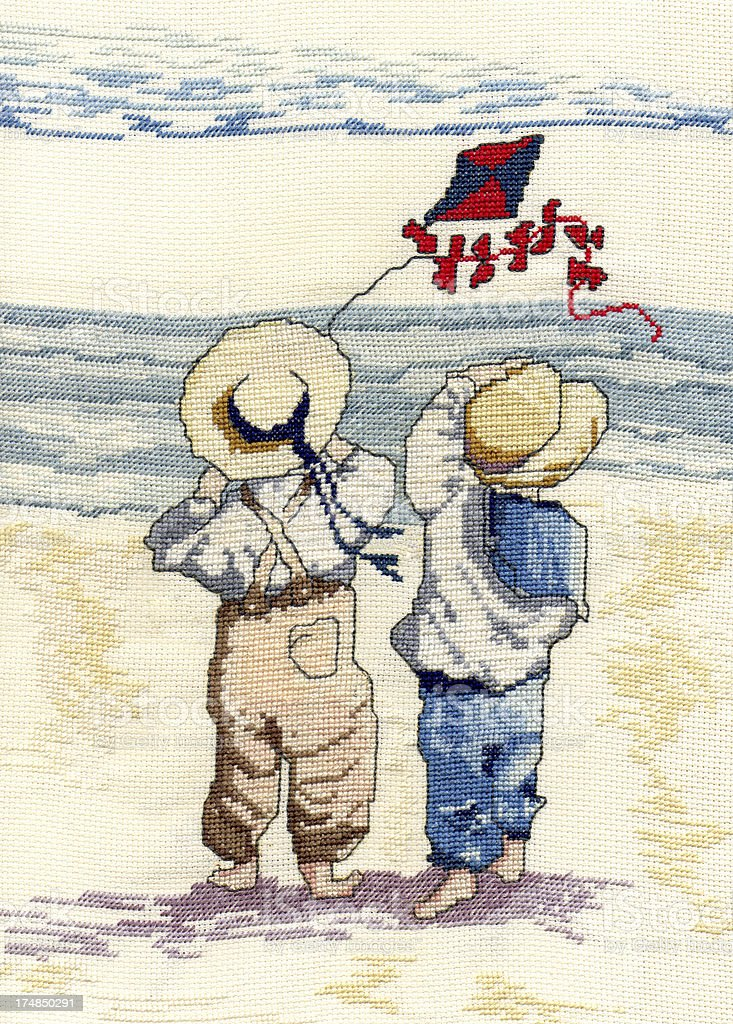 Children with kite on the beach royalty-free stock photo
