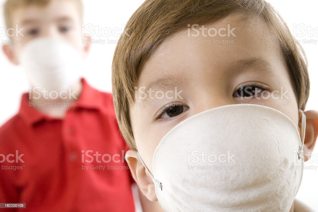 Children with Protective Masks on. stock photo