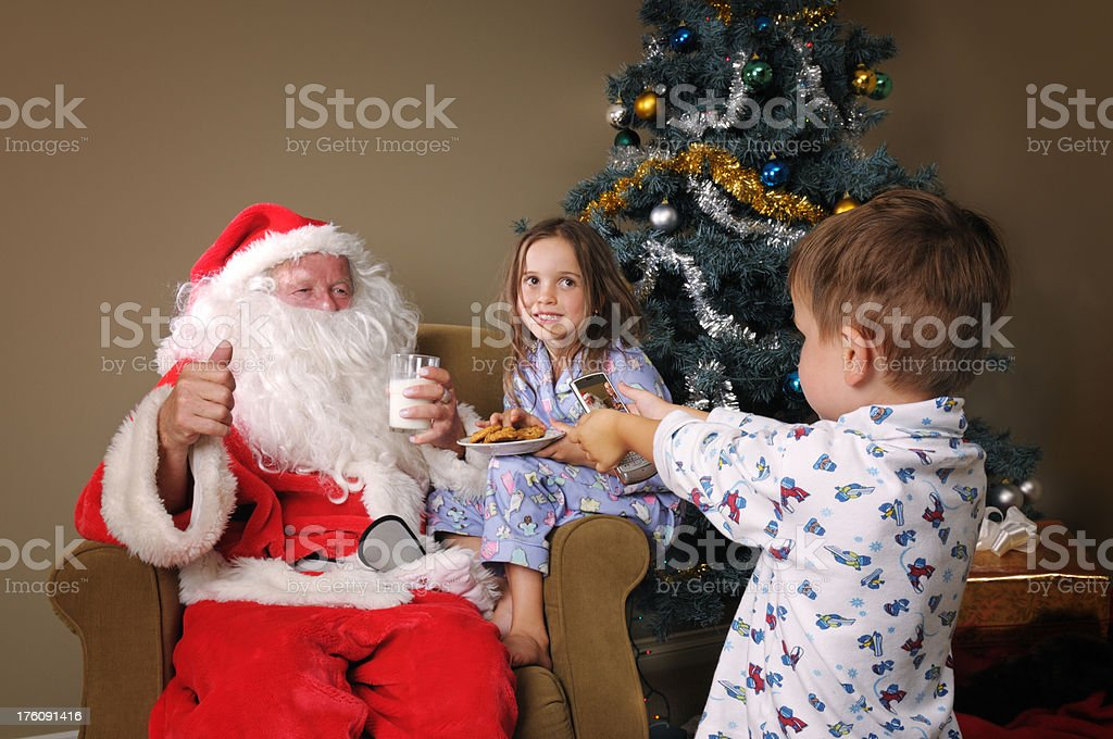 Children with Santa Clause stock photo