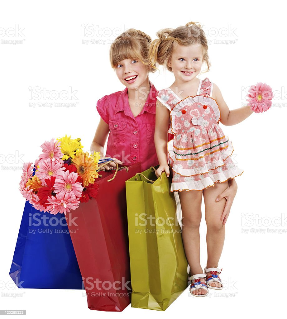 Children with shopping bag. royalty-free stock photo