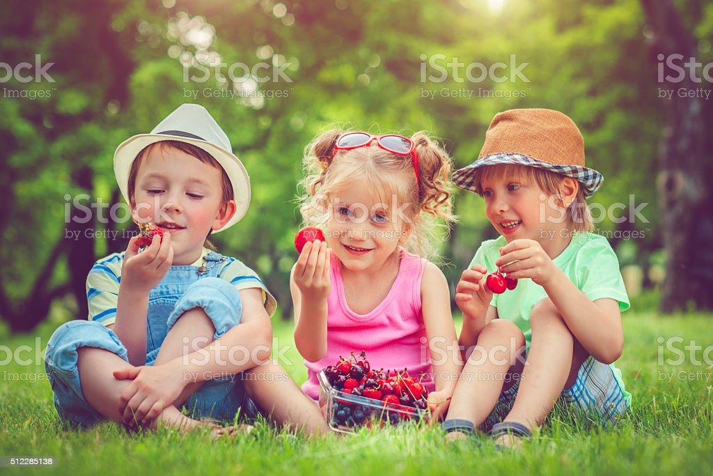 Children with summer berries stock photo