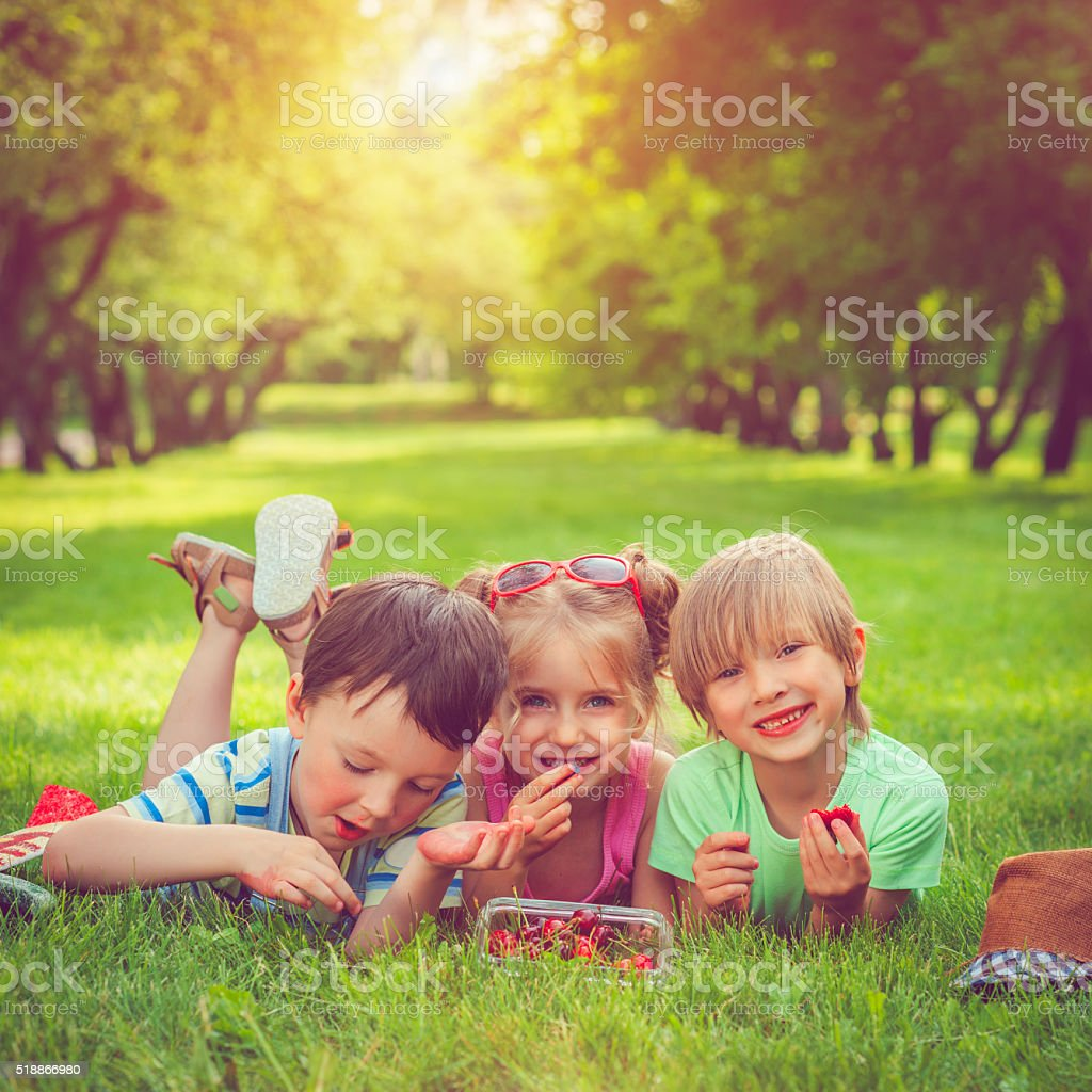 Children with summer berries stock photo