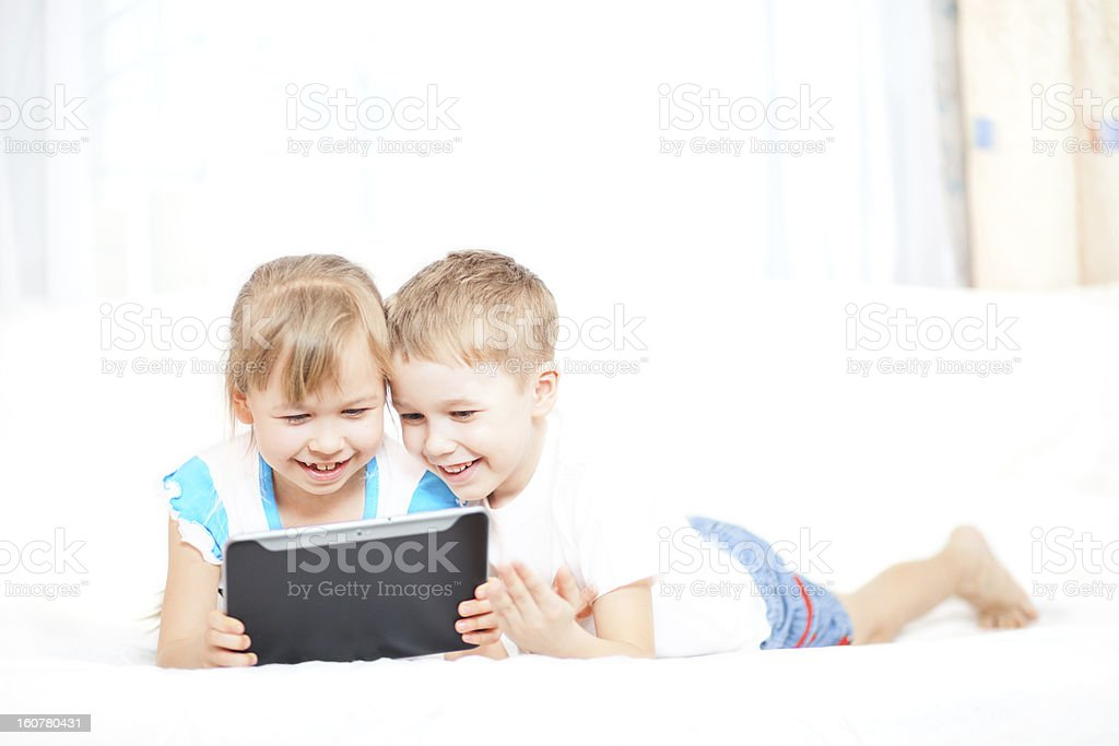 Children with tablet computer royalty-free stock photo