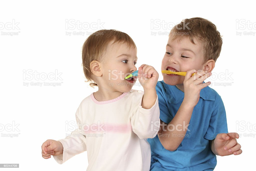 children with tooth brushes royalty-free stock photo