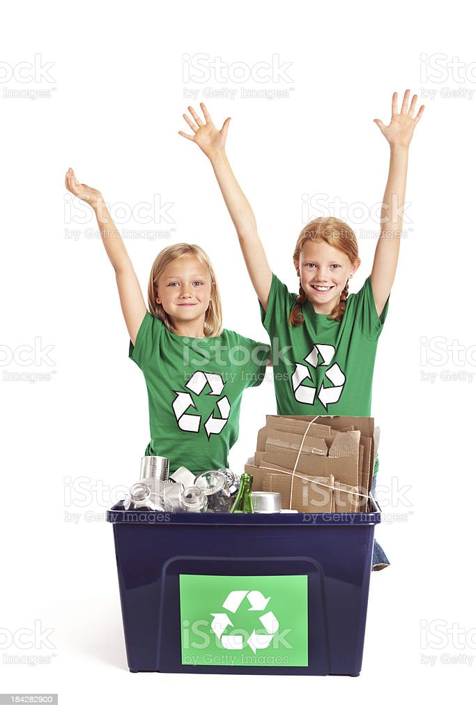 Children Working in Recycling for the Environment on White Background stock photo