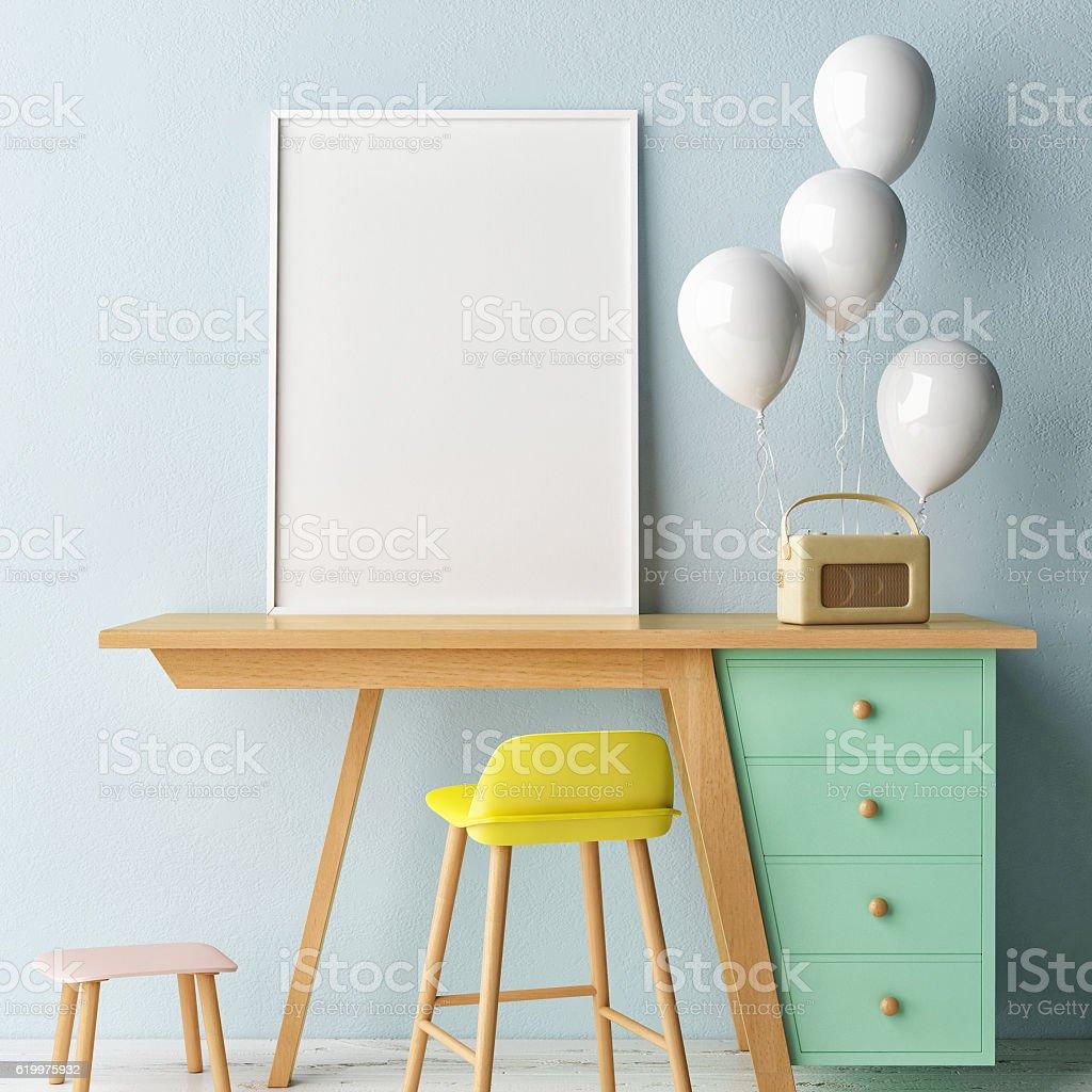 Children working room,,  Empty poster stock photo