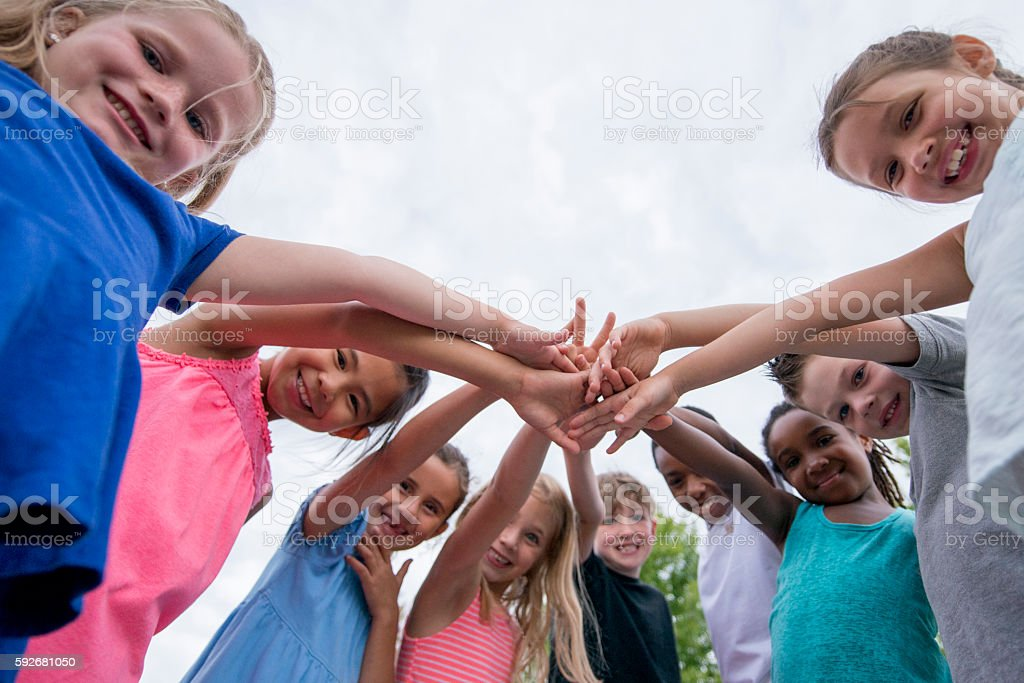 Children Working Together stock photo