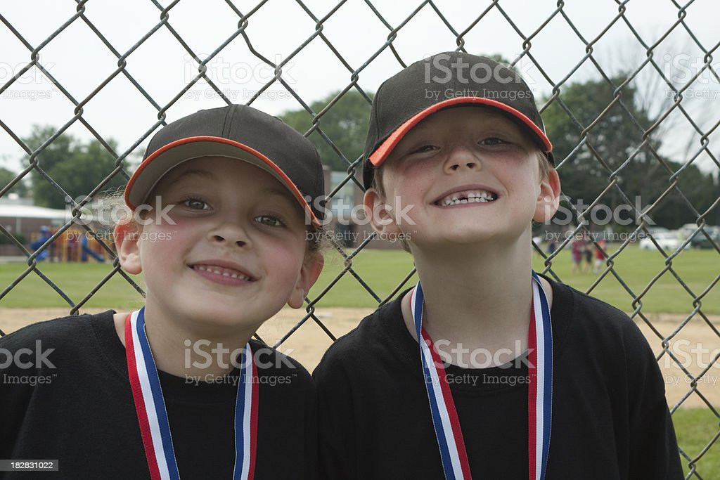 Children-Boy and Girl Winners royalty-free stock photo